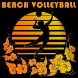 Black and gold stripes logo with volleyball player silhouette Royalty Free Stock Photo