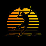 Black and gold stripes logo with volleyball player silhouette Stock Images