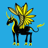 Black and gold unicorn. Stock Image