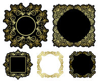 Black and gold vector beautiful frames - vintage Stock Photos
