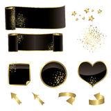 Black and gold  vector festive elements Royalty Free Stock Photo
