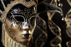 Black Gold Venetian Mask Portrait Stock Photo
