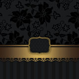Black and gold vintage background with decorative border Stock Images