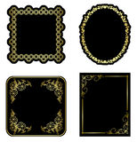 Black and gold vintage frames - set - vector Stock Photo