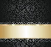 Black  and gold vintage wallpaper. Black  floral vintage wallpaper , card background Royalty Free Stock Photo