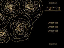 Black and gold wallpaper with big roses, gold invitation card, fashion pattern, design Royalty Free Stock Photography