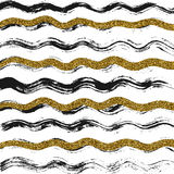 Black and gold wavy wallpaper. Abstract vector texture with black and gold waves Stock Photography