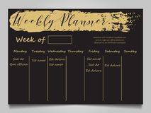Black and gold weekly planner template. With gold grunge effect. Vector illustration Royalty Free Stock Photos