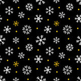 Black, gold and white christmas, winter seamless pattern background. With snowflakes and dots Royalty Free Stock Photography