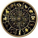 Black and gold zodiac disc. Illustrated black and gold floral zodiac disc with symbols stock illustration