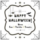 Black and golden abstract cute Happy Halloween emblem greeting card. On white background royalty free illustration