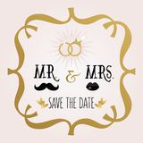 Black and golden abstract Mr. & Mrs. Save The Date wedding card Royalty Free Stock Images