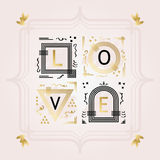 Black and golden abstract word LOVE emblems on pink background Royalty Free Stock Photography