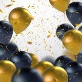 Black And Golden Balloon Bunch. vector illustration