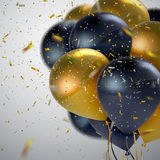 Black And Golden Balloon Bunch. stock illustration