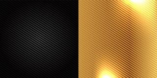 Black and Golden carbon fiber kevlar texture background Stock Images