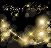Black and Golden Christmas background. / card with snowflakes Stock Images
