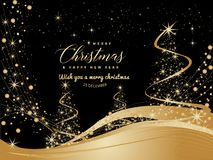 Black and Golden Christmas background with Text Merry Christmas vector illustration