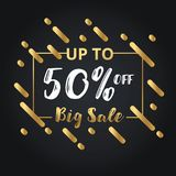Christmas day and Happy New Year discount sale 50% off  illustration banner. Stock Images