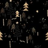 Black and golden christmas pattern. Seamless pattern with spruces and christmas trees, moon, stars and fox, stylized and graphic, can be use for backgrounds and stock illustration