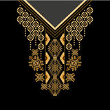 Black and golden colors ethnic flowers neck. Paisley decorative border. Vector design for collar shirts, shirts, blouses, T-shirt. Black and golden colors ethnic Royalty Free Stock Photos