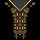 Black and golden colors ethnic flowers neck. Paisley decorative border. Vector design for collar shirts, shirts, blouses, T-shirt. Black and golden colors ethnic Stock Images