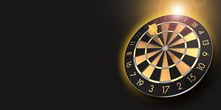 Black and golden dart board as a symbol for success royalty free stock photos