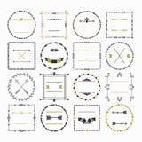 Black and golden empty circle and square border emblem design elements set Stock Images