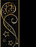 Black and golden festive curl background. Black and golden festive background with curls and stars Royalty Free Stock Image
