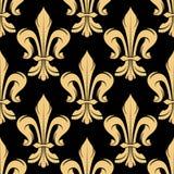 Black and golden fleur-de-lis pattern Royalty Free Stock Photo