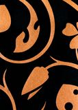 Black with golden flowers fantasy pattern wallpaper background Royalty Free Stock Photos