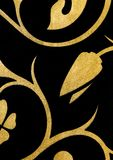 Black with golden flowers fantasy pattern wallpaper background Royalty Free Stock Photo
