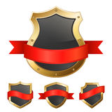 Black golden frame shields with ribbon Stock Images
