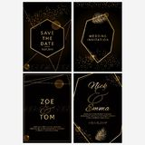 Set of wedding invitations. Black and golden geometric design. Luxury collection. vector illustration