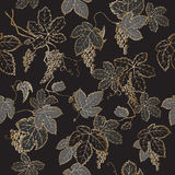 Black and golden grapevine seamless pattern. Stock Photos