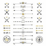 Black and golden hand drawn arrows and dividers icons set