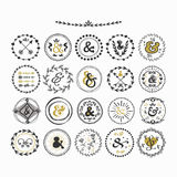 Black and golden hand drawn cute circle ampersands emblems set Royalty Free Stock Photo
