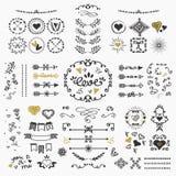 Black and golden hand drawn design elements set on white background vector illustration