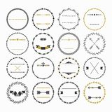 Black and golden hand drawn empty circle emblems set on white background Royalty Free Stock Photo