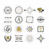 Black and golden hand drawn sign and symbol icons set stock illustration