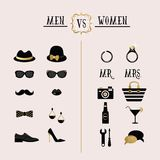Black and golden hipster Men Vs Women accessories and design icons. On pink background Stock Photos