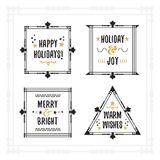 Black and golden Holiday emblem frames on white background. Black and golden Holiday emblem frames with messages on white background Royalty Free Stock Photography