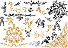 Black and golden ornamental elements Stock Photo