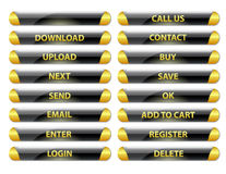 Black and golden rounded glossy internet buttons Royalty Free Stock Photos