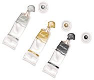Black, golden and silver tubes of acrylic paints. Paint tubes and paint in vector Royalty Free Stock Photos