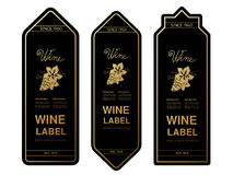 Black golden wine labels with grapes on white background. Rectangle frames on wine bottle. Decorative stickers. Illustration Stock Photos