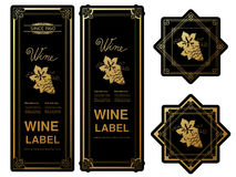 Black golden wine labels with grapes on white background. Rectangle and star frames on wine bottle. Decorative stickers. Illustration Stock Images