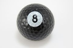 Black Golf Ball with Number 8 Stock Photo