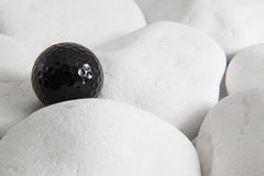 Black golf ball and white stones royalty free stock photography