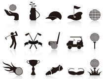 Black golf icons set Stock Photography